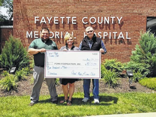 The Good Hope Lions Club recently donated $500 to the Fayette County Memorial Hospital Foundation. Pictured (L to R): Branen Weade, Good Hope Lions Club member, Chelsie Hornsby, director of business development, and Ron Ratliff, FCMH Foundation board treasurer.