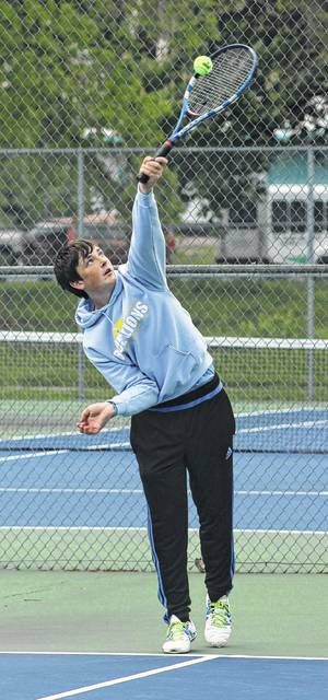 Max Schroeder serves for the Blue Lions during a non-league match against Circleville Tuesday, May 2, 2017 at Gardner Park.