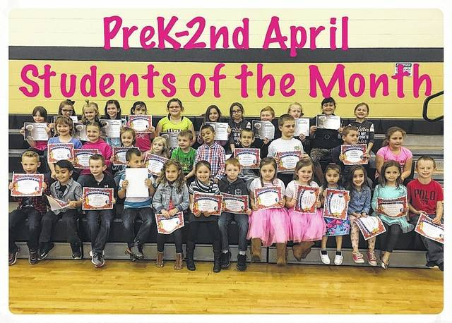 The Miami Trace Middle School April Students of the Month were announced recently. Pictured (L to R): kindergarten through second grade: front row: Cam Thoroman, Avery Landman, J.D. King, Hayden Moore, Colleen Gary, Jaylee Stires, Sammy Cornwell, Catelynn Hayes, Brynlynn Hayes, Bianca Valezquez, Luxie Anderson, Kiree Parker and Zackary Caldwell. Middle row: Ally Davis, Jayden Skeens, Audrey Trout, Savanna Duncan, Jakob Mauer, Miguel Quetchum, Levi Griffin, Matthew Barnard, Shane Skeeters and Kiele Hannah. Back row: Audreey Goddard, Kennadi Miller, Ashlyn Davis, Karleigh Cooper, Karinna Hoover, Elleanna Alltop, Cherilyn Maiden, Autumn Montgomery, Ethen Lyons, Elizabeth Webb, Esmeralda Medina and Peyton Zimmerman.