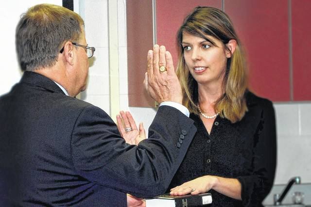 Kristy S. Wilkin of Highland County was sworn in as a member of the Southern State Community College Board of Trustees by the Honorable Rocky A. Coss, Highland County Common Pleas Court Judge.