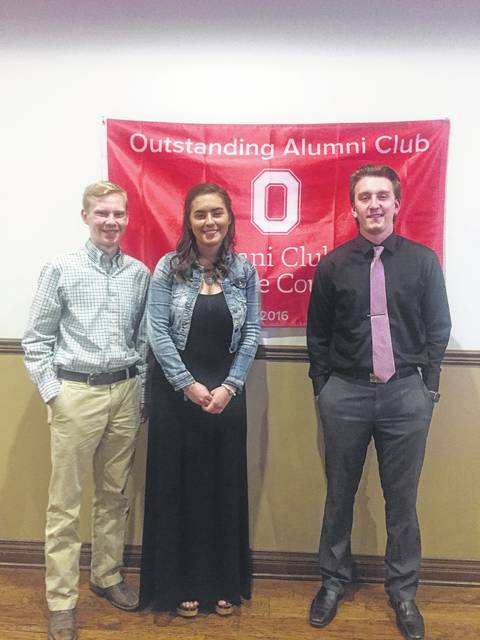 The Ohio State University Alumni Club of Fayette County awarded six 2017 scholarships to Fayette County graduates who will be attending OSU in the fall. Three of the recipients attended the OSU Alumni Club annual meeting are (l to r) Todd R. Peterson, who will study agribusiness and applied economics with a minor in agronomy; Makayla Eggleton, who will study animal science with minors in international studies and Spanish; and Erik Foster, who will study chemical engineering with an emphasis in petroleum engineering. Those recipients unable to attend the meeting are Tori Riley, Clare Sollars and Brian Wilson.