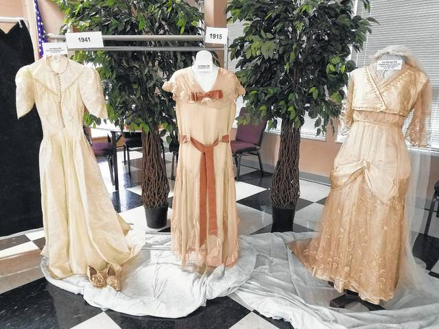 The Grace United Methodist Women met recently for a dinner and program to celebrate the 200-year anniversary of the church by discussing weddings performed through the church. During the program, several dresses were on display which are the property of the Fayette County Historical Society. The history of the dresses were discussed, including the wedding and going-away dresses of Iva Haines who, in 1915, married Hays Dill at the home of Iva's parents on Creek Road. The program also had Iva's daughter-in-law's dress (Jane Seibert) on display who married her son Frank Dill in 1941.