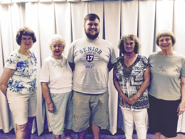 The FCMH Auxiliary recently presented a scholarship to Brandon Brown, a Miami Trace graduate. Pictured from left to right: Barbara Vance, Jody Hanawalt, Brandon Brown, grandmother Patricia Brown and Joyce Lott.