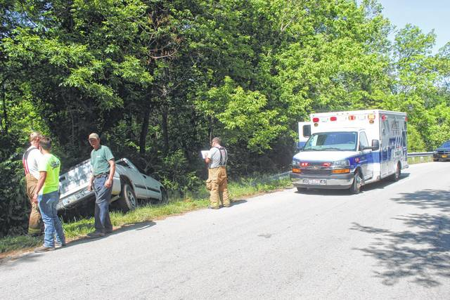 A truck with a single occupant traveled off of Fishback Road near New Martinsburg on Friday afternoon according to reports. According to a firefighter on the scene, the driver was found unresponsive when they arrived, but no more is known about their condition as of press time. Fayette County EMTs were treating the driver at the scene.