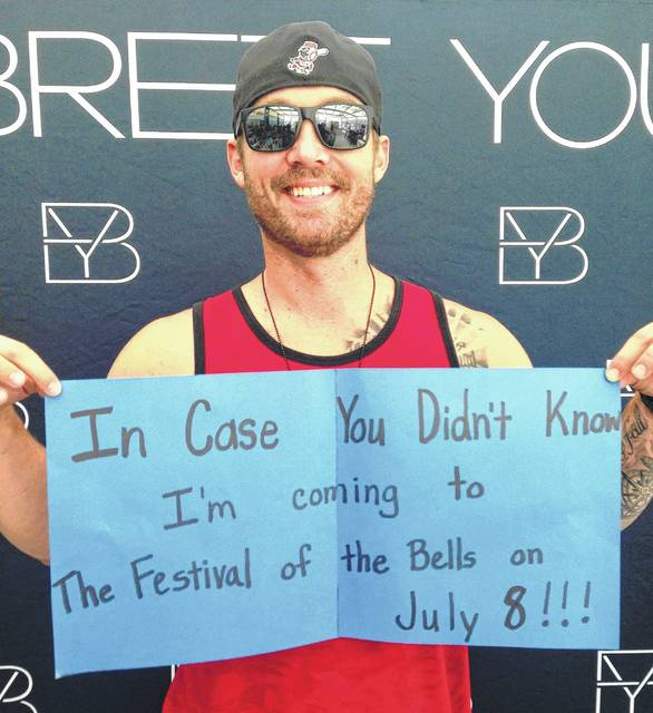 Appearing at Riverbend Music Center on Sunday, entertainer Brett Young promoted his upcoming appearance at the Festival of the Bells in Hillsboro.
