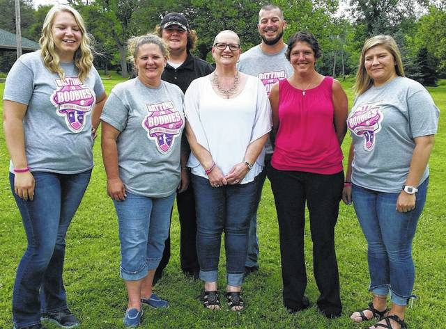 From left to right, Chelsie Utley (State Farm), Linda Hisey (State Farm), Zak Hisey (Wendy's), Tamra Jaynes (recipient), Andy Lewis (State Farm), Jen Dill (Wendy's) and Sam Cantrell (State Farm).