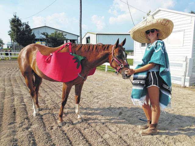 The 2017 Fayette County Junior Fair Horse Costume Contest was held on Wednesday evening. Andrea Robinson and her horse Chilli dressed as Red Hot Chilli Peppers.