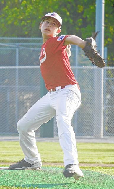 A.J. Dallmayer delivers a pitch for the Washington C.H. 12-year-old all-stars in a Little League State tournament game against Wheelersburg Monday, July 17, 2017 in Maumee. Dallmayer hit two home runs for the all-stars in a 17-8 victory.