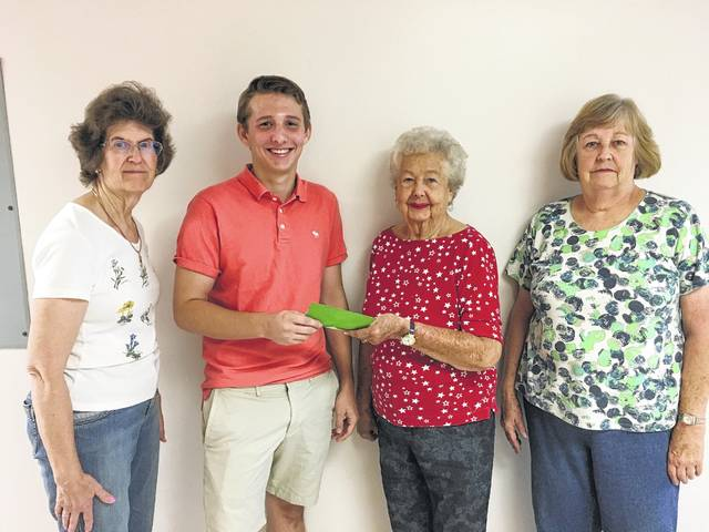 Members of the FCMH Auxiliary scholarship committee recently presented Ethan Marting with a scholarship. From left to right, Barbara Vance, Marting, Jody Hanawalt and Carolyn Reinwald.