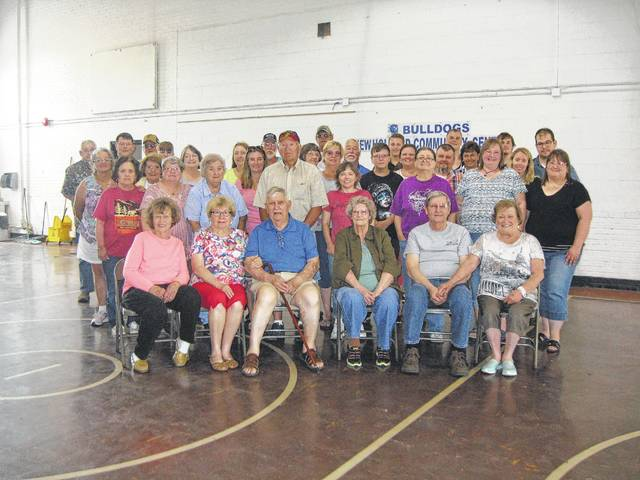 Many attended the Gilmore-Parkison family reunion on June 25: Seated: Beverly Havens, Betty and Tom Gilmore, Mary (Babe) Donohoe, Danny and Sue Gilmore; Row 2: Debbie Havens, Teresa Lutz, Margaret Littler, Kenneth DeWitt, Kristi Simmons, Vickie Donohoe, Amy and Elaine Gilmore; Row 3: Phyllis Havens, Barb Havens, Kathy Smith, Karla Lyle, Beverly Yee, Pam Simmons, Jacob Bard, Sabrina and Jeromie Bard, Christine Dolph, Amber Kirkman; Row 4: Jimmie Parkison, Matthew Lyle, Gary Havens, Michael Lyle, Kathy Smith, Diana (Dee) Littler, David Havens, Buck Wagner, Tom (Bud) Gilmore Jr., Wesley (Saunders) Bard, Jacob Lyle, Joshua Lyle, and Jonathan Wagner. Absent from photo: Bob Smith