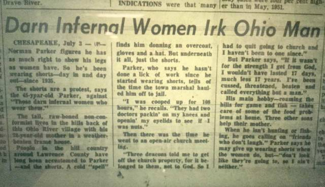 """Looking back: """"Darn infernal women irk Ohio man"""" ran on the front page of the Record-Herald in the summer of 1952. What do you think about Norman Parker's protest against women?"""