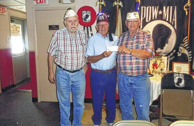 The VFW Post 3762 recently donated to the Shriners Hospital. Pictured (L to R): Bob Malone, Tom Slager and Sheldon Litton.