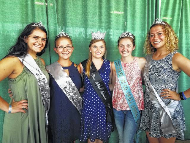 The 2017 Ohio Fairs' Queen Crista Wortkoetter (at center) visited the 138th Fayette County Fair and met with several members of fair royalty. Check out more coverage from the fair in the upcoming Fair Review section in the Record-Herald on Wednesday, Aug. 9. Wortkoetter is pictured with (L to R): 2017 Queen Attendant Susanna Eckstein, 2017 Queen Attendant Skylynn Barden, the 2017 Small Animal Queen Abigail Riley and 2017 First Attendant Clare Sollars.