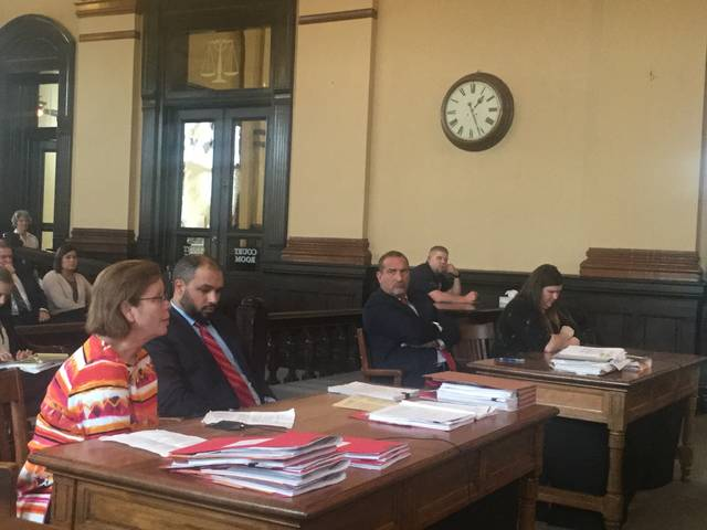 Dr. Lenora Fitton (left) from ABC Pediatrics in Washington C.H. spoke at length in court about how the $250,000 embezzlement has affected her business, life, and the lives of others living and working in the community. From left to right, Dr. Fitton, Fayette County Prosecutor Jess Weade, defense attorney Gregg Slemmer, and Angela Johnson.