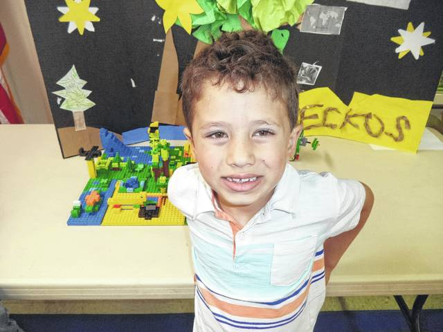 Carter and his teammates built a colorful gecko habitat.