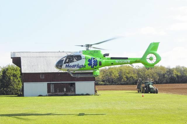 MedFlight and CareFlight helicopters were on the scene of the one-vehicle crash on State Route 38, north of State Route 734, on Thursday.