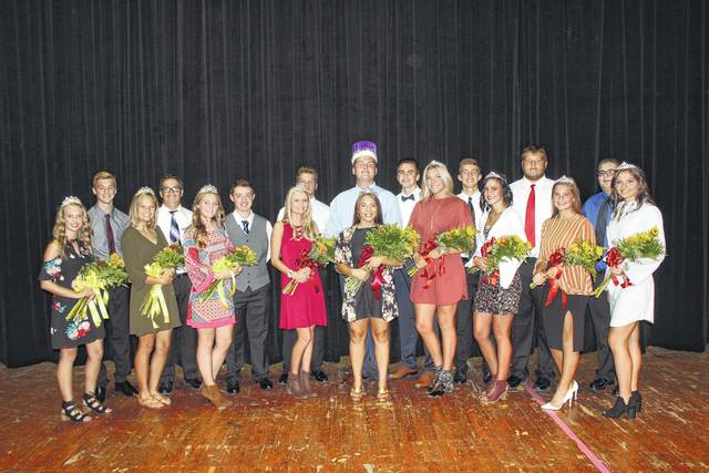 The Miami Trace High School 2017 Homecoming Court, including Queen Dyamin Baker and King Dylan Page, was announced at a Friday assembly. From left to right, freshman attendants Shalyn Landrum and Jaden Haldeman, sophomore attendants Hayley Binegar and Caden Bridges, junior attendants Callynne Cockerill and Hayden Walters, senior nominees Kinsey Adkins and Braden Wallace, Tanner Bryant and Cameron Carter, Queen Dyamin Baker and King Dylan Page, senior nominees Kennedy Campbell and Brett Lewis, Alyssa Griggs and Colin Wolffe, and Morgan Miller and Tony Alltop. Miami Trace's homecoming football game is set for next Friday.