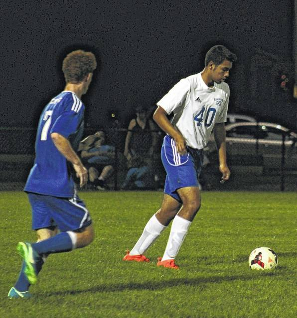 Washington's Kenny Arboleta sets to move the ball up-field during a Frontier Athletic Conference match against Chillicothe Tuesday, Sept. 26, 2017 at Washington High School. The Blue Lions fell to the Cavs, 9-1. Washington scored when Max Schroeder earned a penalty kick and Jordan Behm converted the goal. Washington will play at Southeastern (near Chillicothe) Saturday at 11:45 a.m.