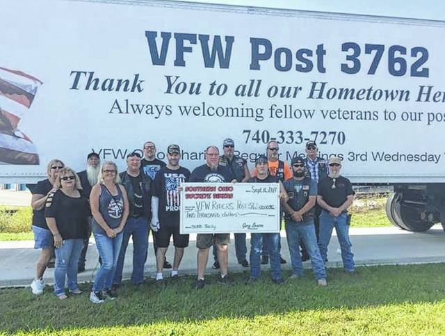 Members of the Southern Ohio Buckeye Bikers organization donated $2,000 recently to the VFW Riders Post 3762. The VFW Riders are a non-profit organization of veterans that help out other local veterans in many ways. This includes assisting with bills, building wheelchair ramps for disabled veterans, and more.