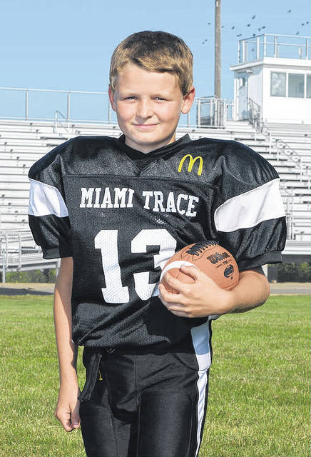 Christian Heath, above, a member of the Miami Trace Youth Football Program's Fifth Grade Black team, was named the Offensive Player of the Week for week five of the 2017 season.
