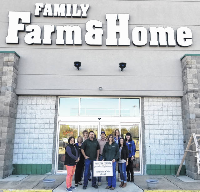Fayette County Chamber of Commerce is pleased to name Family Farm & Home, 2100 Columbus Ave. in Washington C.H., as the October Business of the Month. Chosen by the Chamber Ambassador Team, the store offers a variety of goods for any farm or home owner including lawn and garden supplies, work wear, tools and livestock and pet feed. The team from Family Farm & Home, (center, from left) Dennis, Darrell and Cheryl are congratulated by the Chamber Ambassador Team.