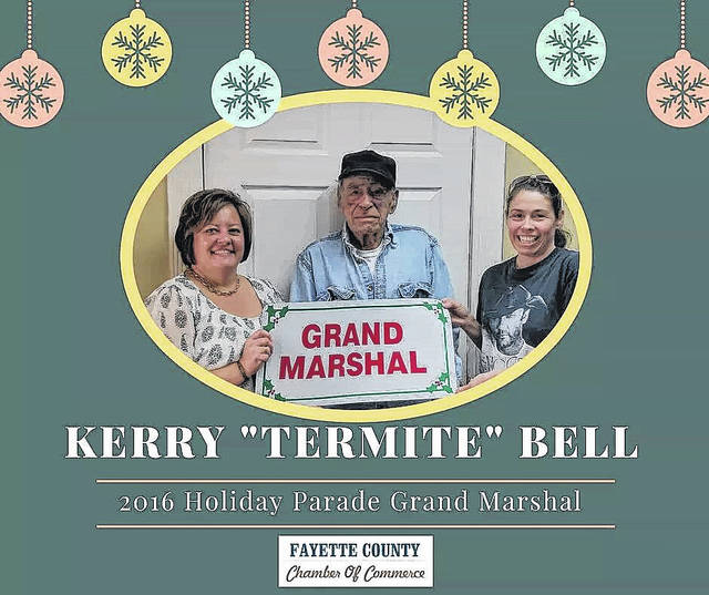 """The 2016 Parade honoree, Kerry """"Termite"""" Bell (center), with Chamber Director Whitney Gentry ( left) and Bell's daughter, Jennifer West."""