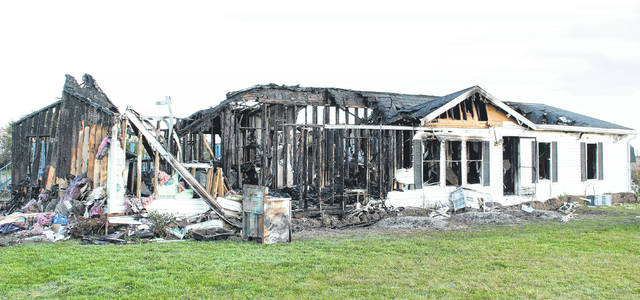 This house on Sheley Road in Jeffersonville was destroyed by fire Sunday evening.
