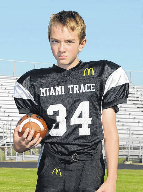 Miami Trace Youth Football Program Players of the Week for week No. 7 of the 2017 season are, above, Jake Manbevers, of the sixth grade Black team, the Defensive Player of the Week.