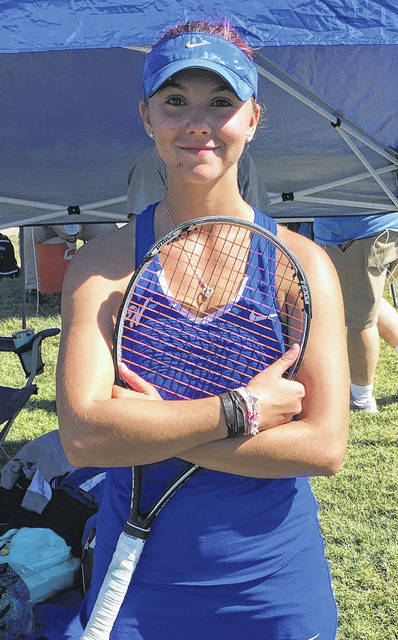 Washington High School's Megan Downing, at the Sectional tournament, has advanced to the District tournament next week in Athens.