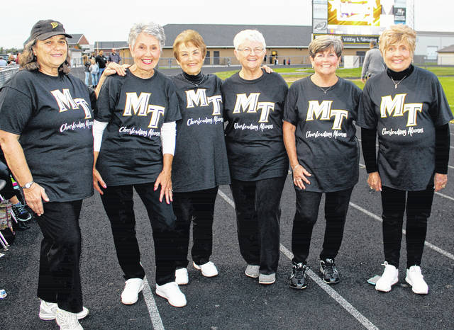 Homecoming is a time for returning to your alma mater, whether you lived in or near your hometown or moved away shortly after graduation. Above, six (out of 10) original Miami Trace cheerleaders graced the sidelines for the game against Jackson Friday, Oct. 6, 2017. For the first cheer squad, two young ladies from each of the county's then five high schools were selected. (l-r); Alice Craig, Marlene Crum Rankin, Karen Thompson Hoppes, Petty Garrison Vrettos, Natalie Allen Ware and Jackie Pope Loudner.