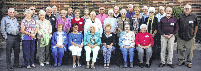 The Washington High School Class of 1957 recently gathered for their 60th reunion. Pictured (L to R): front row: Judy (Preston) Ivers, Wanda (Tracey) Hughes, Nancy (Reno) Etter, Mary (Highfield) Grover, Becky (Johnson) Stockwell, Jean (Persinger) Rice, Linda (Anderson) Sells, Wilma (Brown) Dorn, John Knedler and Gary Havens. Middle row: John Langley, Dale Campbell, Gary Ivers, Robert Hall, Bonnie (Clark) Dresbaugh, Pat (Scott) Waghorne, Beverly (Campbell) Langley, Jackie (Detweiler) Johnson, Kitty (Melvin) West, Gwen (Meyer) Bishop and Bill Dresbaugh. Back row: Bill Shaw, Bill Graves, Peggy (Dowler) Dugan, Norman Chaney, Elden Brown, Roger Boswell and James Hamilton.