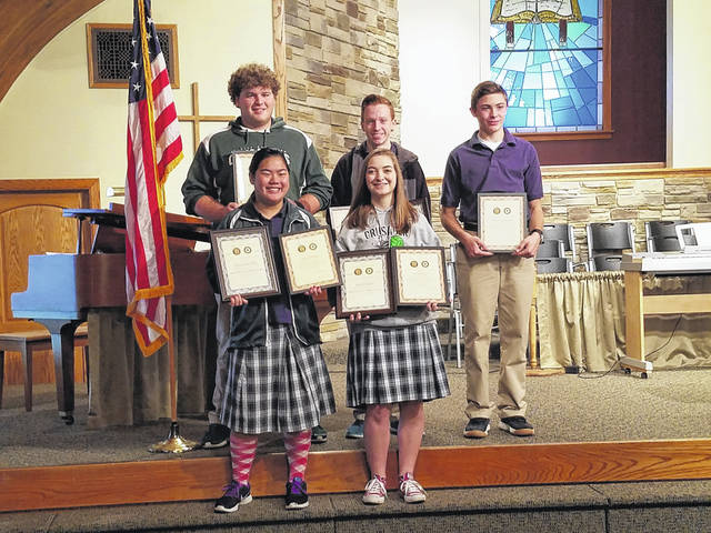 Winners of the Americanism and Government test for the Fayette Christian school were named Monday during the Veterans Day Assembly. Pictured (L to R): back row: Aaron Turner, Spencer Hanusik and Nicholas Epifano. Front row: Grace Sheeter and Macie Riley (Summer Hurles also won but is not pictured).
