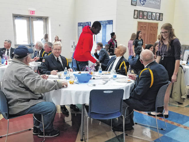 The Washington High School student council served lunch to veterans on Monday to help celebrate Veterans Day. During their lunch period, students at the school were invited to come talk with veterans and many took time to shake hands and thank a veteran.