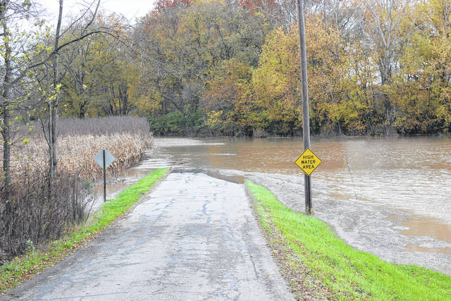 A portion of Mark Road was closed Monday due to the flooding that occurred overnight.