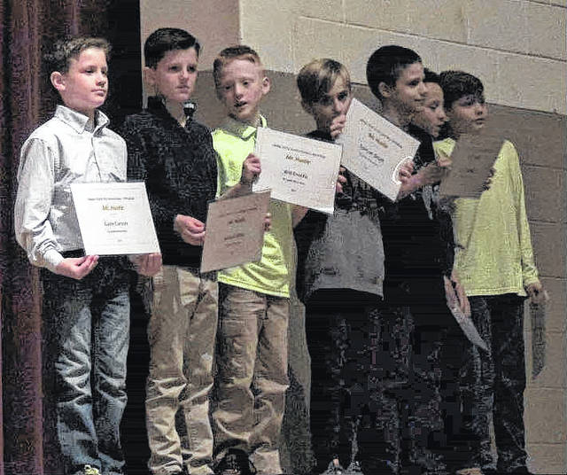 The Miami Trace Youth Football Program held an end-of-season banquet Tuesday, Nov. 21, 2017 at Miami Trace High School. The above players received the Mr. Hustle Award for 2017. (l-r); Gabe Carson, Jackson Miller, Will Enochs, Spencer Smith, Riley Billingham, Taevin Brown and Asher LeBeau.