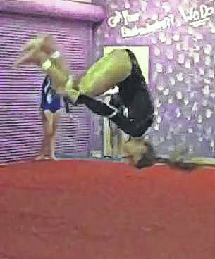 Abby Arledge performs a round-off, back-handspring, tuck tumbling pass.
