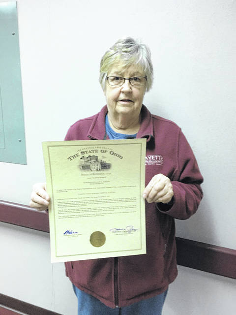 FCMH Auxiliary President Carolyn Reinwald was recently presented with a certificate of recognition from the office of Rep. Gary Scherer.
