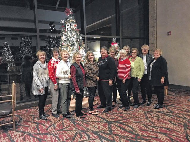 Another year is almost gone and the Deer Creek Daisies ended their year with a Christmas outing. The December Christmas was held at the Deer Creek Lodge on Dec. 1 at 6 p.m. They placed their exchange gifts under one of the many beautifully decorated trees in the lodge and then went to the restaurant and enjoyed a very delicious meal. After dinner was a time to relax, open gifts and enjoy the fellowship of good friends. The December meeting was hosted by Marty Cook and Joyce Schlichter. The Deer Creek Daisies would like to wish everyone a very Merry Christmas and a Happy New Year. From left to right, Rita Lanman, Barbara Vance, Marty Cook, Connie Lindsey, Shirley Pettit, Joyce Schlichter, Billie Lanman, Julie Schwartz, Emily King, Jeanne Miller, Judy Gentry and Kendra Knecht.