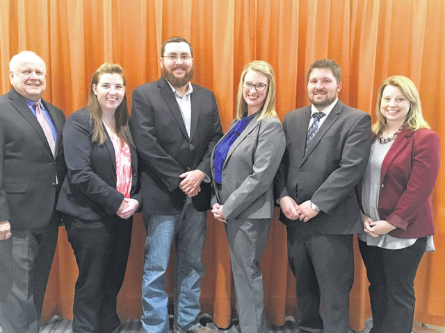 Members of the Fayette County Farm Bureau served as delegates to the recent 2017 Ohio Farm Bureau annual meeting. They participated in the policy sessions that direct the organization's activities for the coming year. From left to right, Dr. John Mossbarger, state trustee, Washington Court House; Ashley Rose, organization director, Sabina; David Carr, Washington Court House; Brandi Montgomery, Washington Court House; Wes Montgomery, Washington Court House; and Jessica Draganic, South Solon.