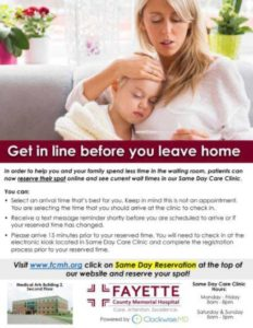 FCMH Same Day Care Clinic now offers online reservations