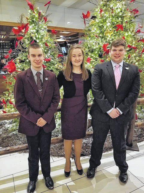 Three Fayette County 4-H members, (left to right) Spencer Minyo, Victoria Schappacher and Trevor Minyo, recently represented Ohio at the National 4-H Congress in Atlanta.