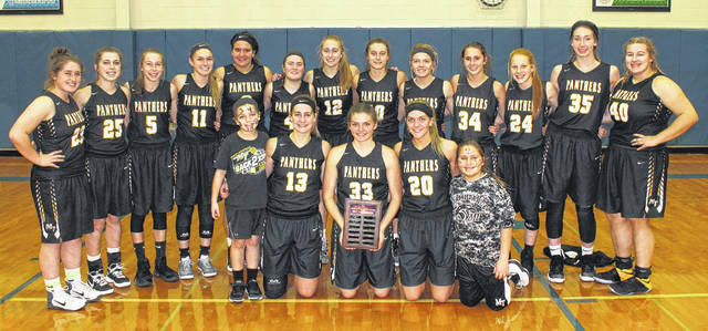 2017 McDONALD'S HOLIDAY TOURNAMENT CHAMPION LADY PANTHERS — The Lady Panthers on the court at Greeneview High School following their exciting 44-42 McDonald's Holiday Tournament championship victory over the Rams Friday, Dec. 29, 2017. The tournament is sponsored annually by Nick Epifano, owner and operator of McDonald's of Fayette County and Jamestown. (front, l-r); Gracie Lovett, Victoria Fliehman, Morgan Miller, Tanner Bryant, Zoey Grooms; (back, l-r); Aubrey Schwartz, Gracee Stewart, Aubrey McCoy, Tori Evans, Olivia Wolffe, Becca Ratliff, Olivia Fliehman, Shay McDonald, Cassidy Lovett, Regan Barton, Magarah Bloom, Aubrey Wood and Lena Steele.