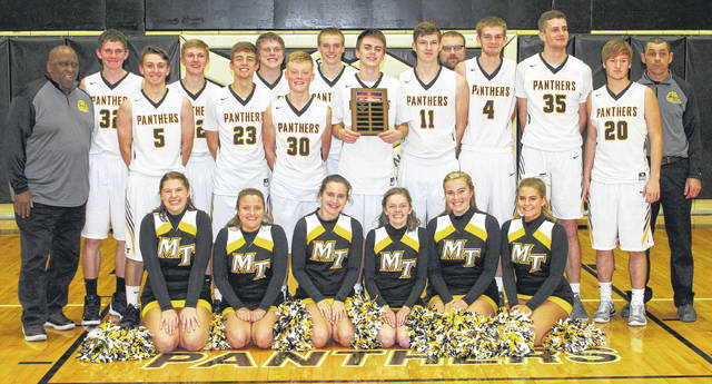 2017 McDONALD'S HOLIDAY TOURNAMENT CHAMPIONS, MIAMI TRACE PANTHERS — Miami Trace won the tournament, sponsored annually by Nick Epifano, owner and operator of McDonald's of Fayette County and Jamestown, with a 58-53 victory over the Greeneview Rams Saturday, Dec. 30, 2017 at the Panther Pit. (front, l-r); Abbi Pettit, Katie Chaney, Brooke Heinz, Abby Riley, Khenadi Grubb, Alyssa Griggs; (middle, l-r); assistant coach Carlos Roberts, Austin Mathews, Brett Lewis, Heath Cockerill, Cameron Carter, Dillon Coe, Matt Fender, Darby Tyree, Dakota Bolton and assistant coach Tracy Tyree; (back, l-r); Wyatt Cory, Jacob Atwood, Adam Ginn, Austin Brown and assistant coach Cory Patton. Not pictured: head coach Rob Pittser.