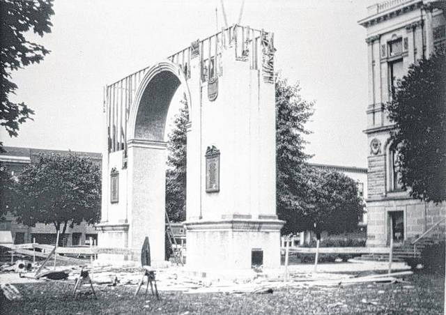 The memorial arch was torn down in the summer of 1927.