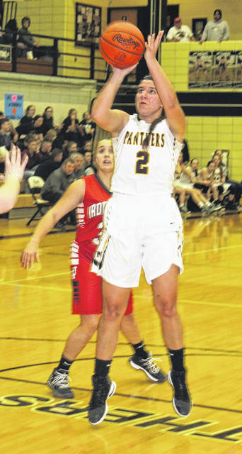 Miami Trace junior Olivia Wolffe puts up a shot during a Frontier Athletic Conference game against Jackson in the Panther Pit Wednesday, Jan. 31, 2018.