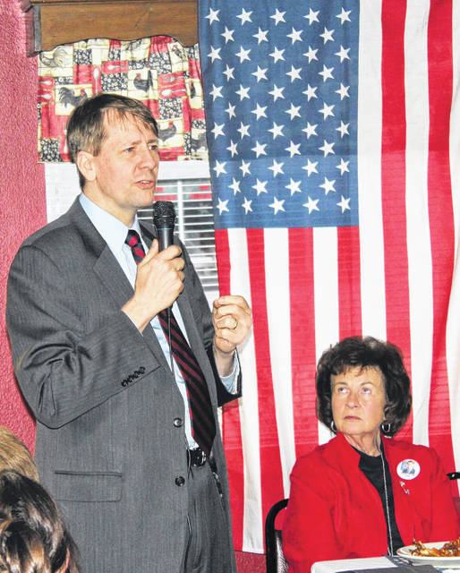 Richard Cordray, Democratic candidate for Ohio governor, visited Our Place Restaurant Sunday in Washington C.H. for the Fayette County Democrats' Obama Legacy Dinner. Seated next to Cordray is Judy Craig, chair of the Fayette County Democratic Executive Committee