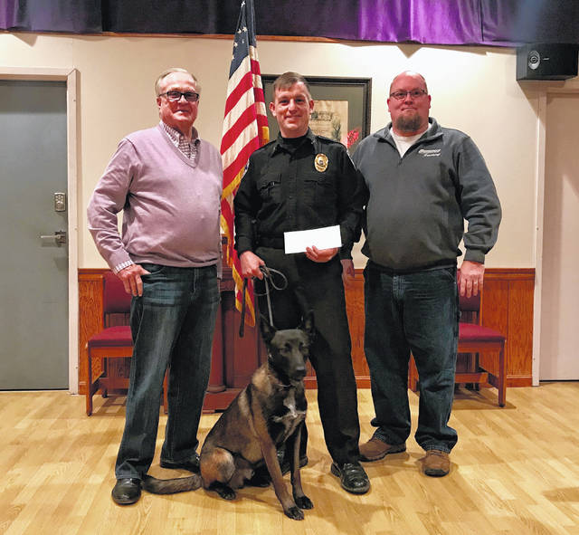 "Rowland LeMaster, Elks Lodge #129 Trustee, Chief Of Police Mark Ater and his K-9 Unit ""Bruno"" from the Union City Police Department, and Scott Mullen, Exalted Ruler Elks Lodge #129."