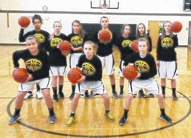 2017-18 MIAMI TRACE 7TH GRADE BASKETBALL TEAM — (front, l-r); Katie Hicks, Audrey Craig, Hillary McCoy; (back, l-r) Kennedy Kingery, Kymberly Fisher, Jana Griffith, Hillary Jacobs, Haleigh Moore, Gracey Ferguson and Mallory Lovett. Not pictured; coach Jeff King.