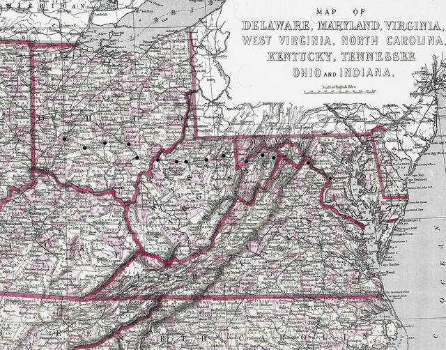 Colonel Charles Young's route from Wilberforce, Ohio, to D.C.
