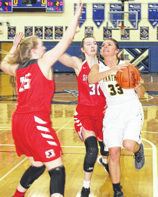 Miami Trace senior Morgan Miller (33) takes the ball to the basket during a Division II District semifinal game against Sheridan Thursday, Feb. 22, 2018 at Southeastern High School.